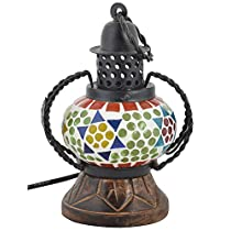 Greentouch Crafts Wooden Handicraft Mosaic Glass Lamp Antique Showpiece (12 Cm X 9 Cm X 18 Cm )