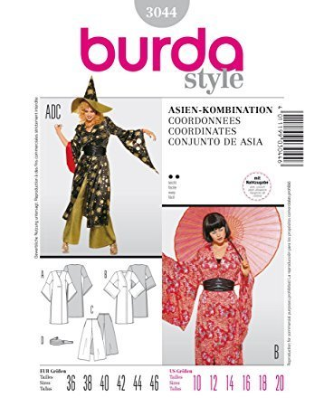 Burda 3044 Schnittmuster Kostüm Fasching Karneval Kimono & Hose ...