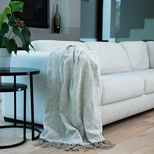 Haven & Earth Taupe CHENILLE Throw Blanket. Decorative & Stylish Pattern. Enhance your Home Decor Chenille Blanket Pattern