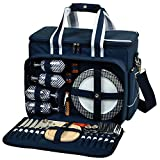 Picnic at Ascot- Ultimate Insulated Picnic Cooler with Service for 4 - Navy