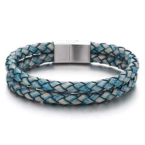 COOLSTEELANDBEYOND Mens Two-Row Vintage Blue Braided Leather Bangle Bracelet Wristband Steel Magnetic Box Clasp
