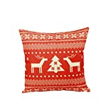 Decorative Pillow Cover - Lydealife 18 X 18 Inch Cotton Linen Decorative Throw Pillow Cover Cushion Case, Christmas reindeer LD060