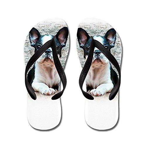Cafepress Franse Bulldog - Flip Flops, Grappige String Sandalen, Strand Sandalen Zwart