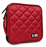 BUBM 32 Capacity CD/DVD Wallet Case Organise your collection for Car, Home, Office and travel - Red