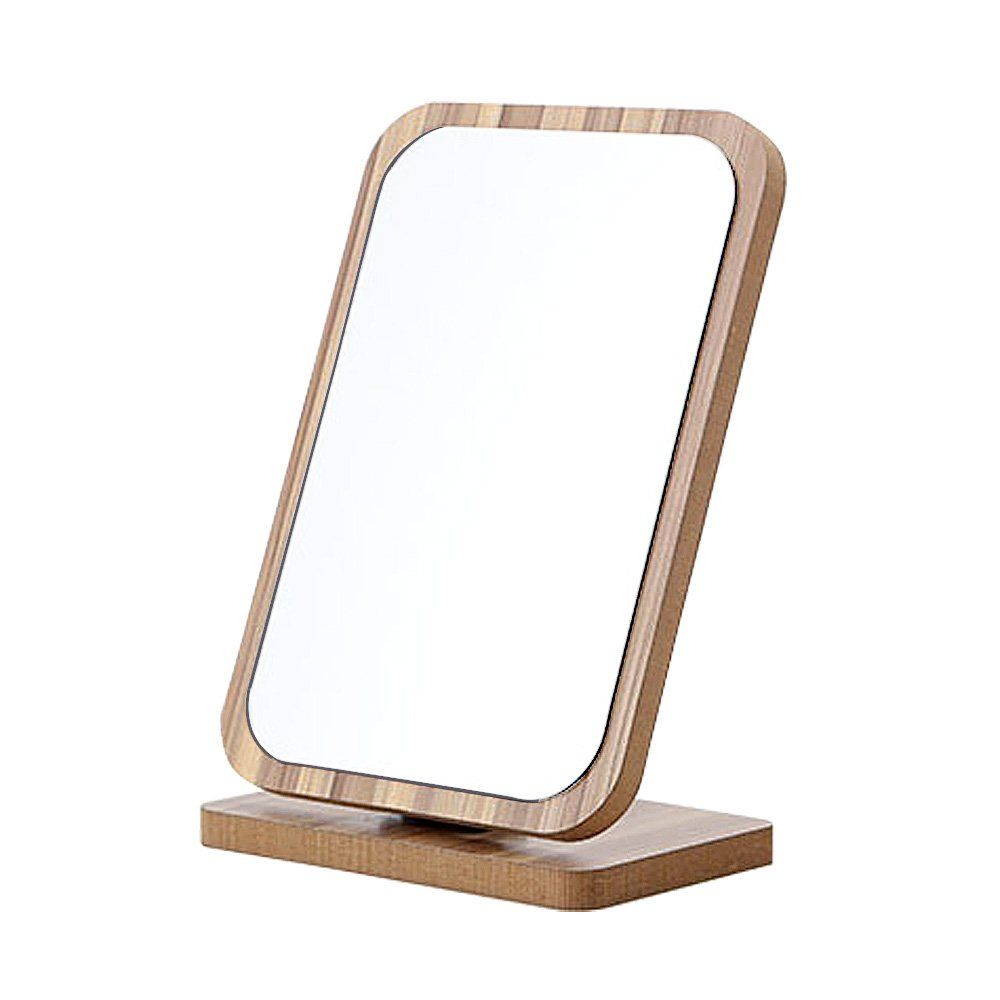 GLODEALS Wood Square Desktop Makeup Cosmetic Item Graining Adjustable Angle With Stand Personal Beauty Folding Vanity Mirror (Vertical)