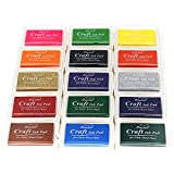 Miraclekoo Craft Ink Pad Finger ink Pad Stamps Partner Set of 15 DIY Assorted Color