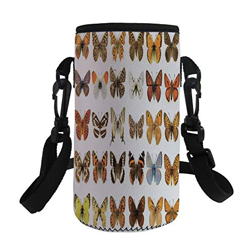 Small Water Bottle Sleeve Neoprene Bottle Cover,Butterflies Decorations,Butterfly Miracle Wings Joy Freedom Spiritual Feminine Divine Sign Concept Work,Multi,Great for Stainless Steel and Plastic/Glas by iPrint
