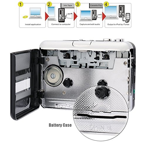 Best and most practical retro cassette player - Portable tape player Capture MP3 music music via USB - Compatible with laptop and personal computer - Convert Walkman cassette to iPod format by Hqdz (Image #2)'