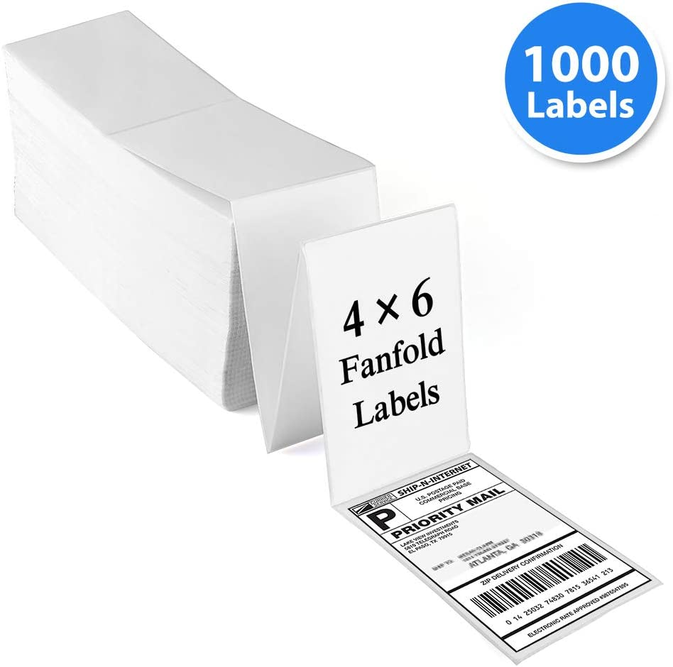"""Fanfold 4""""x6"""" Direct Thermal Labels,1000 Labels, Perforated, White Mailing Postage Address Labels Compatible with Zebra 2844, Rollo, UPS, FedEx, Amazon, Ebay Shipping Label, Permanent Adhesive"""