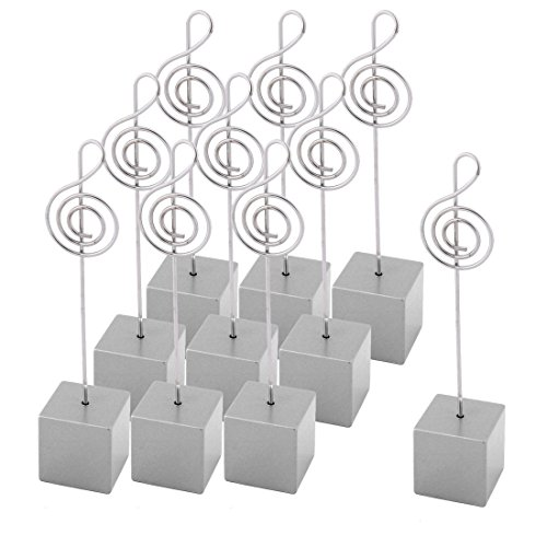 uxcell Resin Party Musical Note Shaped Table Decor Photo Memo Clip 10 Pcs Silver Tone