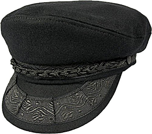 an Wool Blend Fisherman's Cap (Black, 7 1/2) (Dorfman Pacific Hat Company)