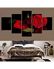 5 Panels Painting Picture Modern Red Flower Hd Printed Wedding Decoration For Living Room Canvas