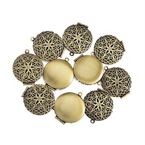 10Pcs/Set Antique Bronze Filigree Photo Locket Aromatherapy Essensial Oil Diffuser Pendant Charms