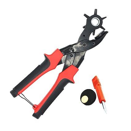 TOOHUI Cinturón Agujero Perforadora, Alicate Sacabocados para Cuero, Giratorio Perforadora Alicates, Tenaza Perforadora