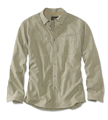 Button Shirt Down Dry Tech (Orvis Men's Tech Chambray Work Shirt, Canteen, Medium)