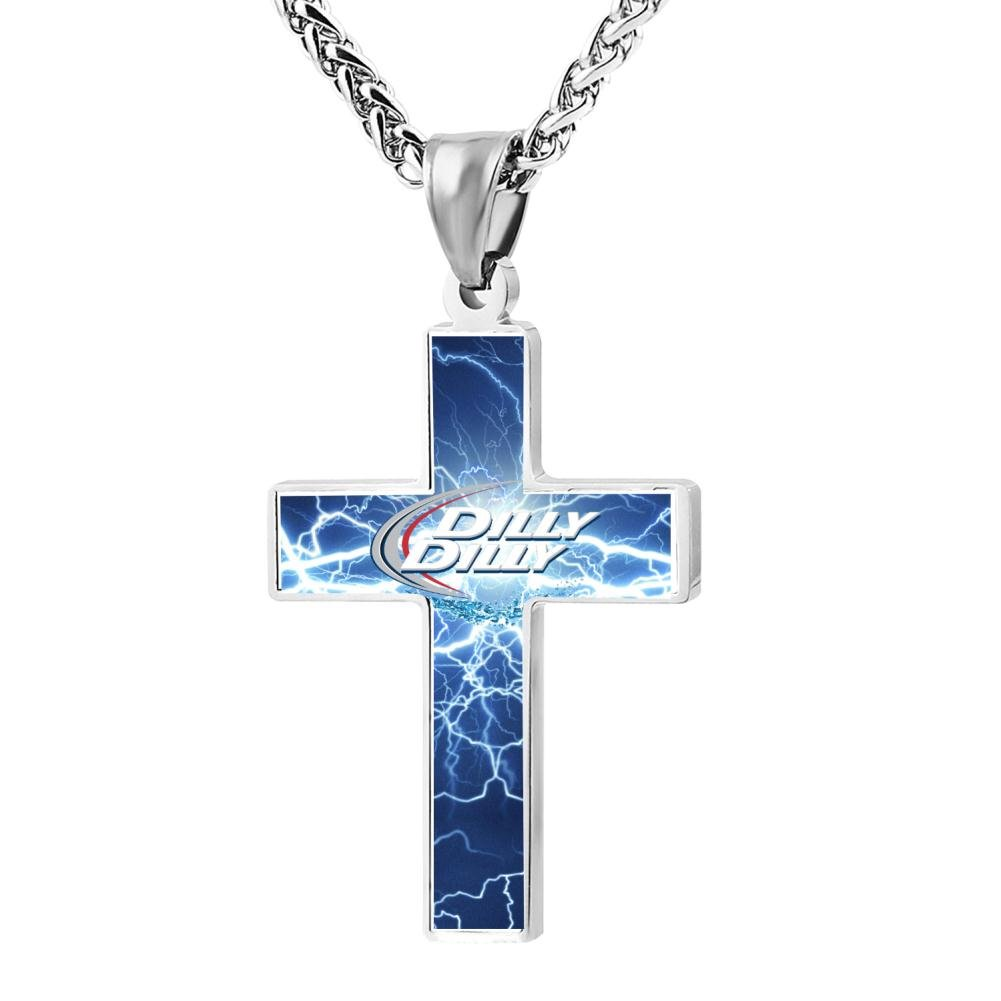 Polished Dilly Dilly Logo Christian Cross Necklace Religious Jewelry Pendant