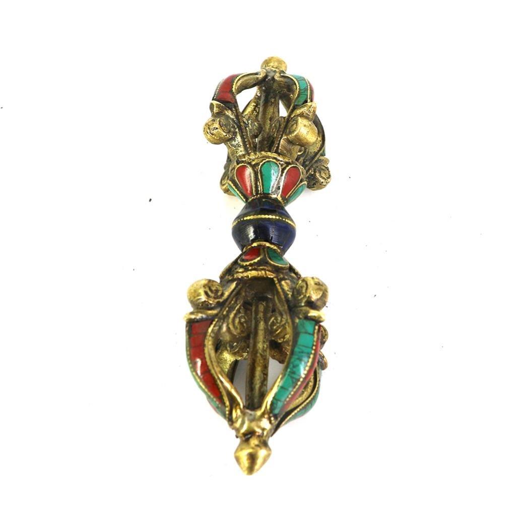 MagiDeal Nepal Tibetan Buddha Buddhism Copper Dorje Vajra Pestle Amulet Handmade Unique Gift