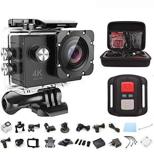 アクションカメラ EletecPro 4K WIFI搭載 CMOSセンサー 2インチ液晶画面 170度広角 30m防水 1200万画素 2 4G無線RF 空撮やスポーツに最適 予備一つ1050mAhバッテリー&20件付属品付き リモコンバイクや自転車/カート/車に取り付け可能