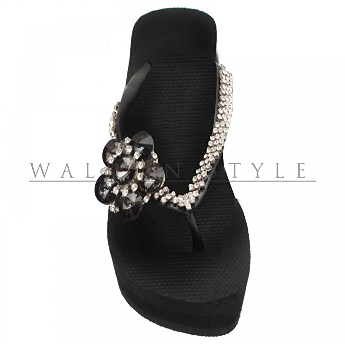 e9449b464a19 Uzurii Crystal Decorated Wedge Flip Flop 7 Black  Amazon.co.uk  Shoes   Bags