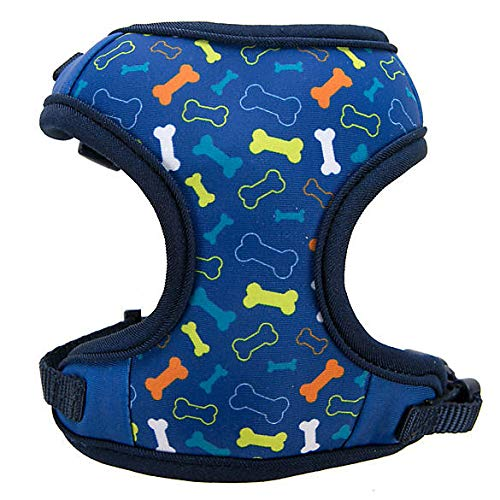 TOP PAW Blue Multi-Bone Adjustable Fabric Dog Harness~XX-Small~