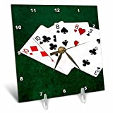 3dRose Alexis Photo-Art - Poker Hands - Poker Hands Two Pairs Ten, Eight - 6x6 Desk Clock (dc_270527_1)