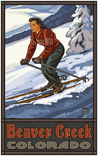 Beaver Creek Colorado Downhill Skier Girl Travel Art Print Poster by Paul A. Lanquist (30