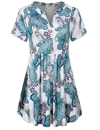 Womens Tunic Tops,Juniors Clothing Plus Size Henley V Neck Short Sleeve Retro Vintage Peplum Mini Dress Shirt Easy Fit Highwaist Pleated Pullover Spring Blouses Paisley Blue - Vintage Paisley Blouse