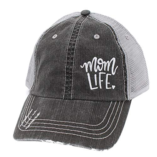 r2n fashions Mom Life Embroidered Women's Mom Trucker Hats Caps Black/Grey ()