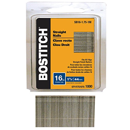 (BOSTITCH SB16-1.75-1M 1-3/4-Inch by 16-Gauge Bright Straight Finish Nail, 1000-Per Box)