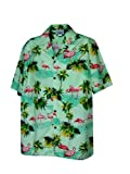Pacific Legend Mens Pink Flamingo Paradise Shirt Sage XL