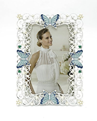 Wedding Photo Picture Frame (Metal Butterfly Picture Frame 5X7 Wedding Photo Frame for Tabletop Display (White))