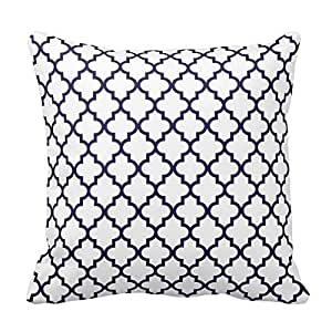 Navy Blue and White Decorative Cushion Covers Throw Pillow Case Moroccan Quatrefoil Pattern Print Square Two Sides 16X16 Inch