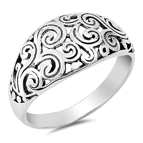 Wide Filigree Swirl Ring - Victorian Filigree Swirl Vintage Ring New .925 Sterling Silver Band Size 10