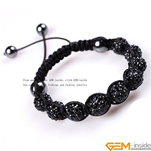 GEM-inside Black Women Girl 10mm Pave Shine Crystal Beads Hand-Woven Bracelet Adjustable