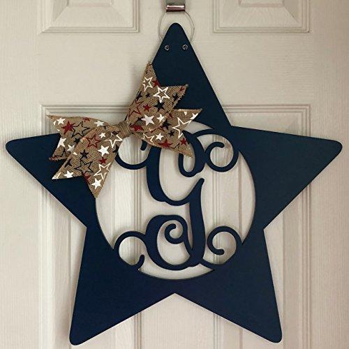 Monogram Star Door Hanger - 4th of July Wreath - 4th of July Door Hanger - American Door Hanger - United States - Patriotic Door Hanger
