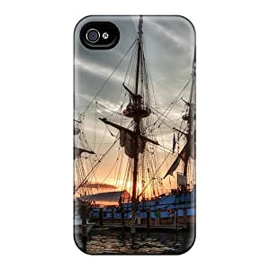 For Iphone Case, High Quality Antique Sail Ship In A Marina Hdr For Iphone 4/4s Cover Cases