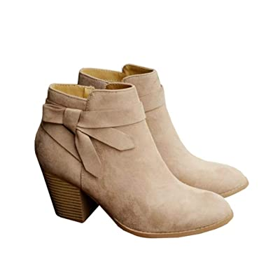 Ruanyu Womens Ankle Boots Chunky Block Heel Tie Knot Pointed Toe Cute Booties | Ankle & Bootie