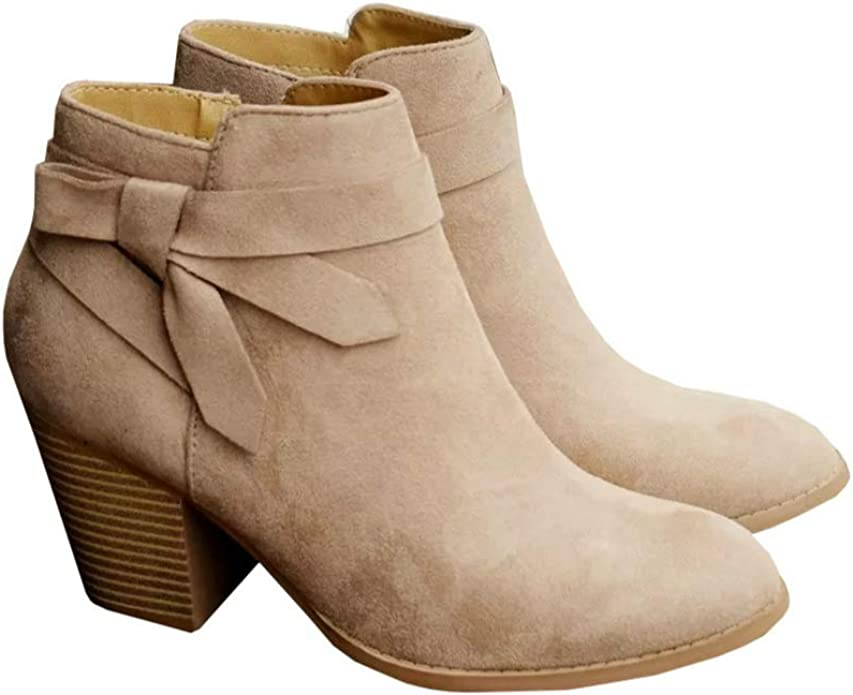 Miuye yuren-Shoe Ankle Booties for Women Casual Chunky Heel Rubber Boots Rivets Boots Buckle Strap Boots Round Toe Shoes