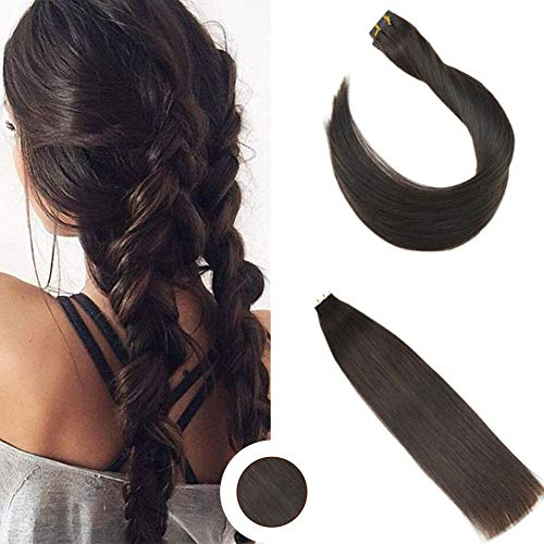 Ugeat 18 inch Seamless in Remy Human Hair Extension #2 Dark Brown Skin Weft Tape in Remy Human Hair Extensions 40pcs/100g Straight Glue in Hair Extensions