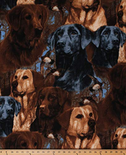 Fleece Hunting Dogs Labrador Retrievers Ducks Animals Fleece Fabric Print by The Yard (A505.35)