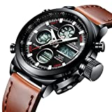 Mens Sports Watches Men Military Waterproof Big Face Analogue Digital Wrist Watch with Brown Genuine Leather Band