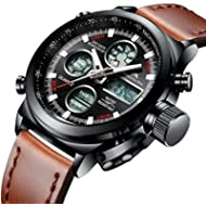 Mens Sports Watches Men Military Waterproof Big Face Analog Digital Brown Leather Band Wrist...