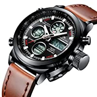 Mens Sports Watches Men Military Waterproof Big Face Analog Digital Brown Leather Band Wrist Watch (Black)