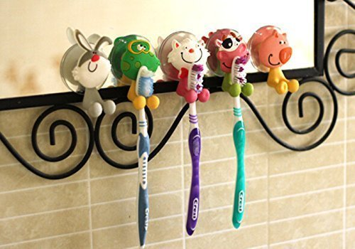Mansa 5Pcs animal Antibacterial Toothbrush Holders Suction C