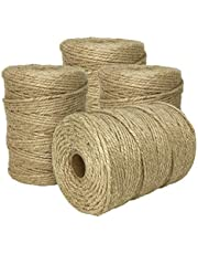 ILIKEEC Natural Jute Twine, 3 Ply 2.5mm Arts and Crafts Jute Rope Heavy Duty Packing String for Gifts, DIY Crafts, Bundling, Decoration, Gardening and Recycling (2.5MM 328FT 4PCS)