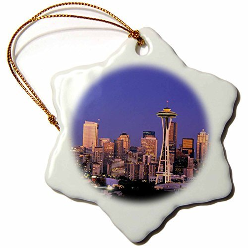 OneMtoss Danita Delimont Seattle Evening Light on The Seattle Skyline US RDU Richard Duval Snowflake Porcelain Ornament