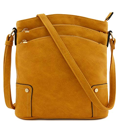 Triple Zip Pocket Large Crossbody Bag ()