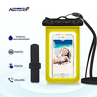 Homar® Waterproof iphone 6, 6 Plus Case - Best in Water Sports Equipment - Universal Cell Phone up to 6 inches Waterproof Dry Bag for Camping Kayaking Hiking Boating Swimming Fishing (Yellow)