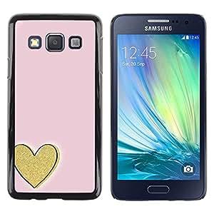 FECELL CITY // Duro Aluminio Pegatina PC Caso decorativo Funda Carcasa de Protección para Samsung Galaxy A3 SM-A300 // Gold Love Pink Minimalist