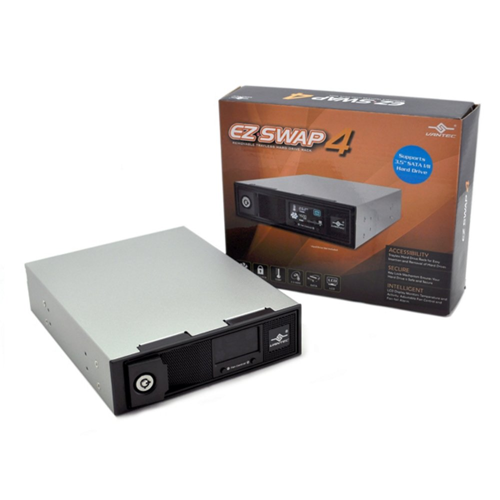 Vantec EZ Swap 4 3.5-Inch Aluminum Removable Trayless SATA Hard Drive Rack with LCD and Fan MRK-401ST-BK (Black)